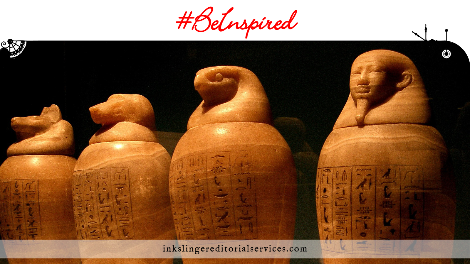 Be Inspired: Egyptian canopic jars lined up in a dark room.