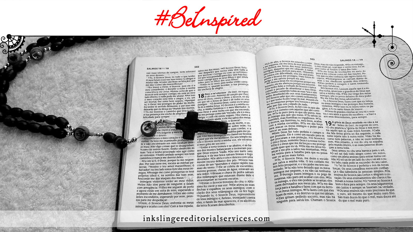 Be Inspired: An open Bible with a rosary lying on top of it.