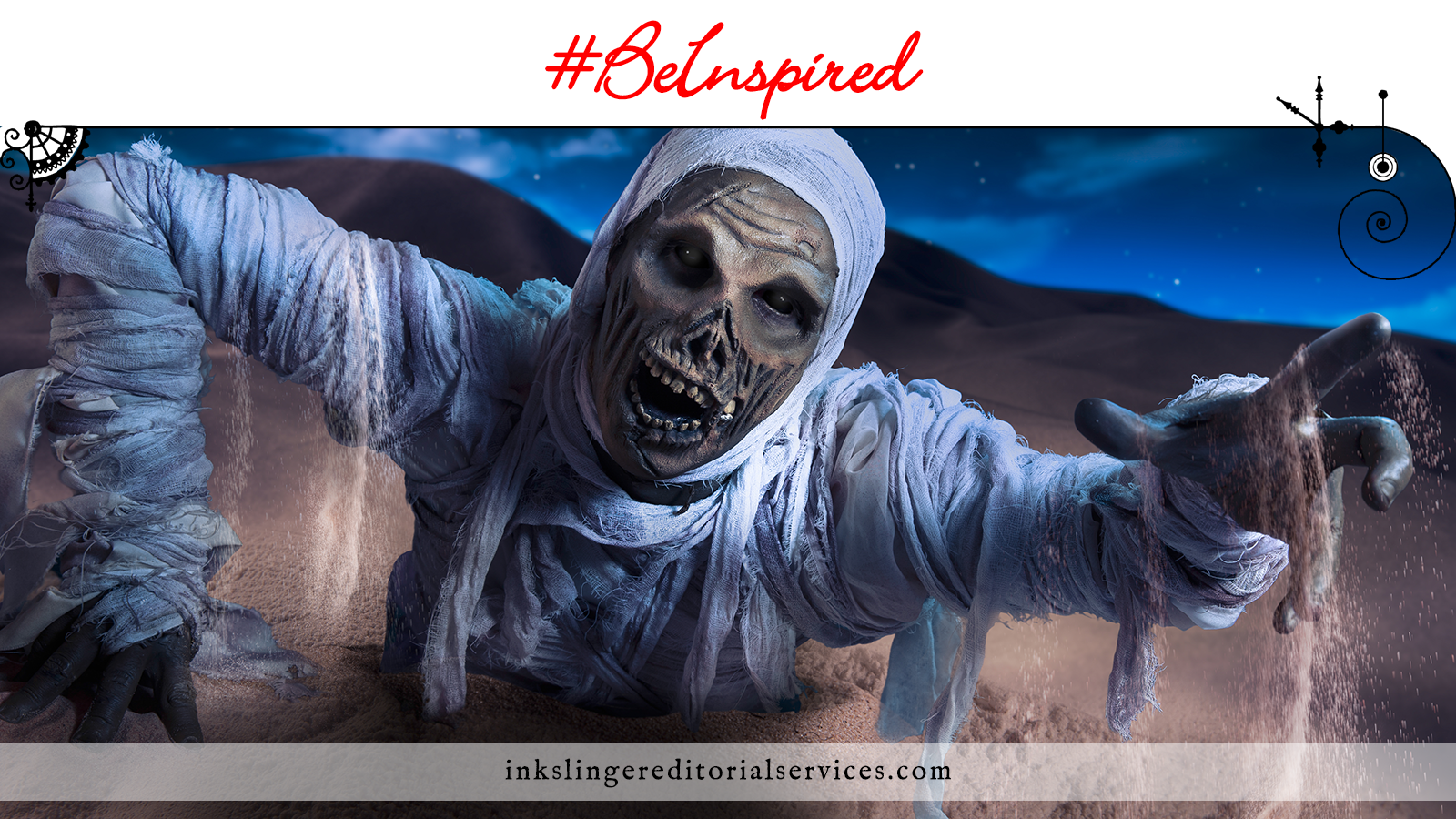 A desiccated mummy crawling through desert and reach toward you.