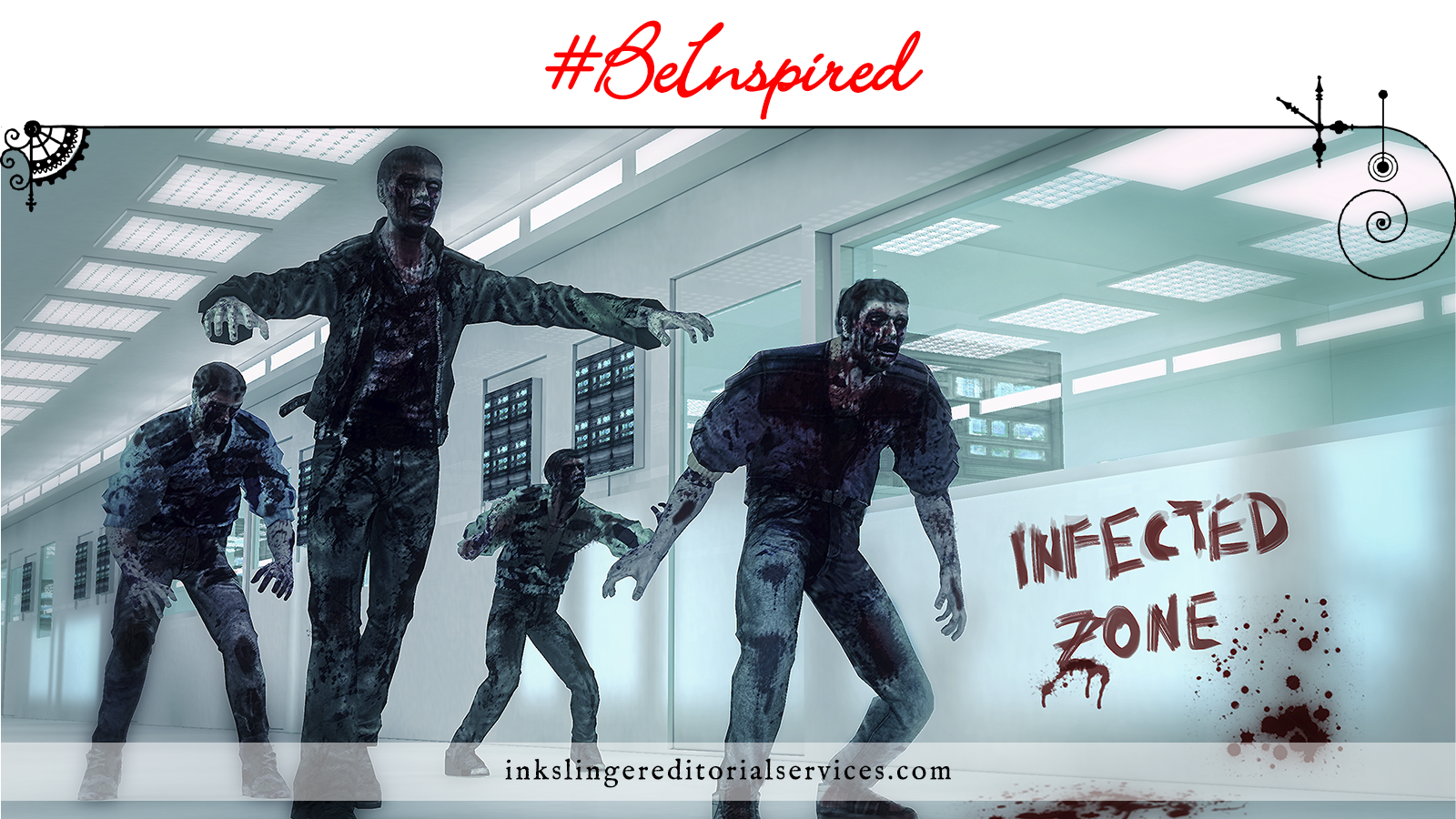 "Zombies walking down the hall of a medical building with ""infected zone"" written on the wall in blood"