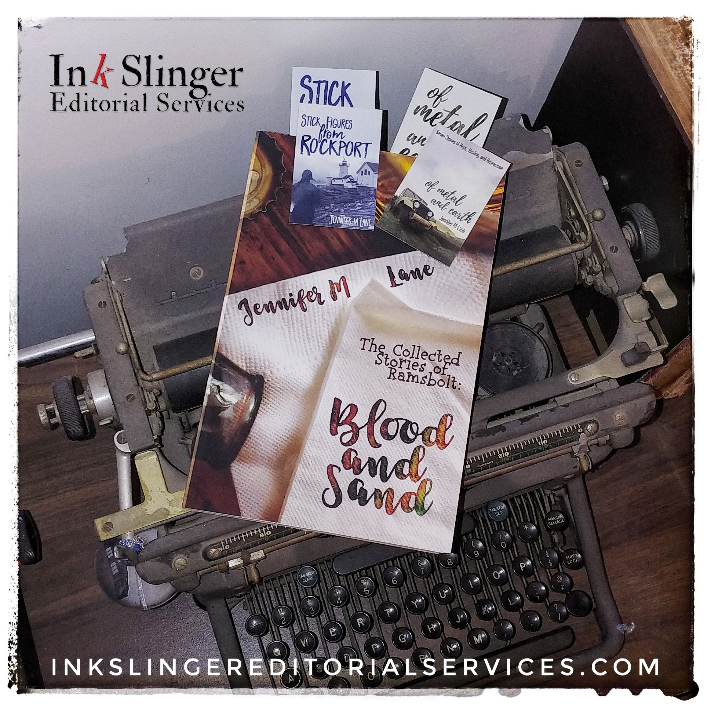 Jennifer M. Lane's book Blood and Sand on an antique typewriter with magnets from her first two books Stick Figures from Rockport and Of Metal and Earth. Ink Slinger Editorial Services