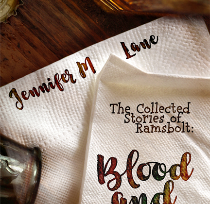 Blood and Sand by Jennifer M. Lane cover with a drink and two napkins on a bar top.