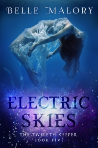 The cover of Belle Malory's Electric Skies has a girl with long dark hair and wearing a white dress, floating in water. The background is blue with a center glow. The title has a purple and pink glow behind it.