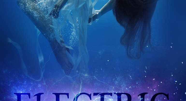 Electric Skies by Belle Malory cover. A girl in a white dress floating in water.