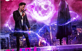 Spell Caster by Clara Coulson cover. A cityscape backdrop with a glowing orb and a man and woman in the foreground.