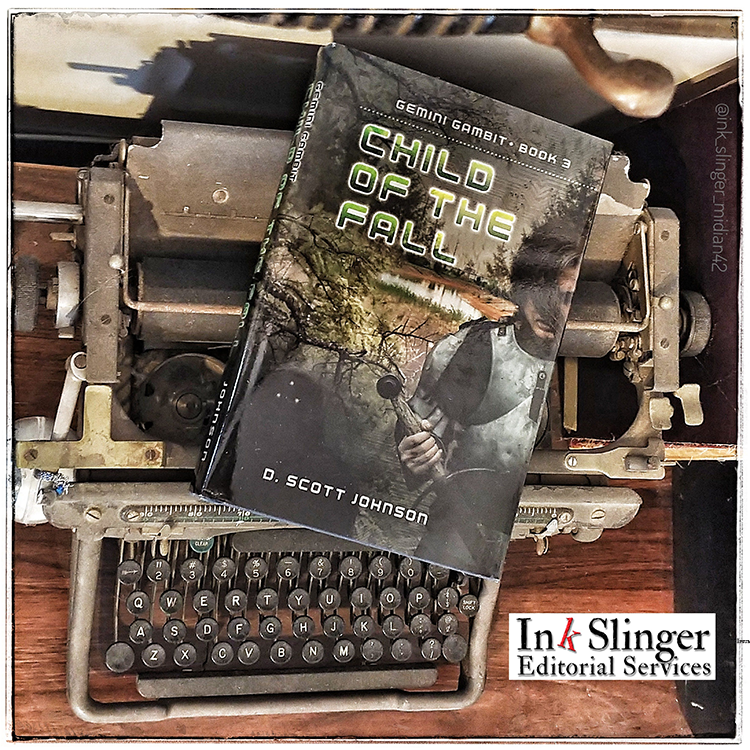 D. Scott Johnson's Child of the Fall book lying on top of a vintage typewriter.