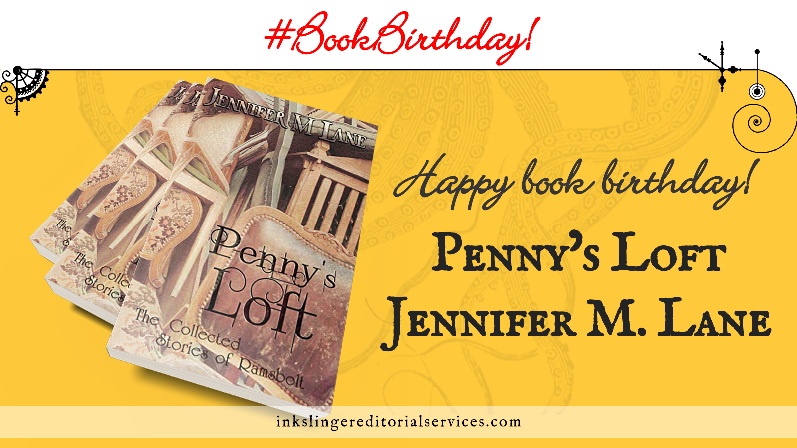 Happy book birthday! Three copies of Penny's Loft by Jennifer M. Lane #BookBirthday