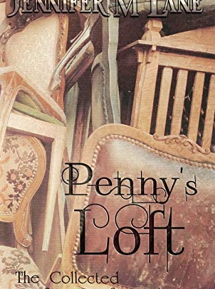 Penny's Loft by Jennifer M. Lane cover is a stack of old chairs like you'd find in a thrift store.