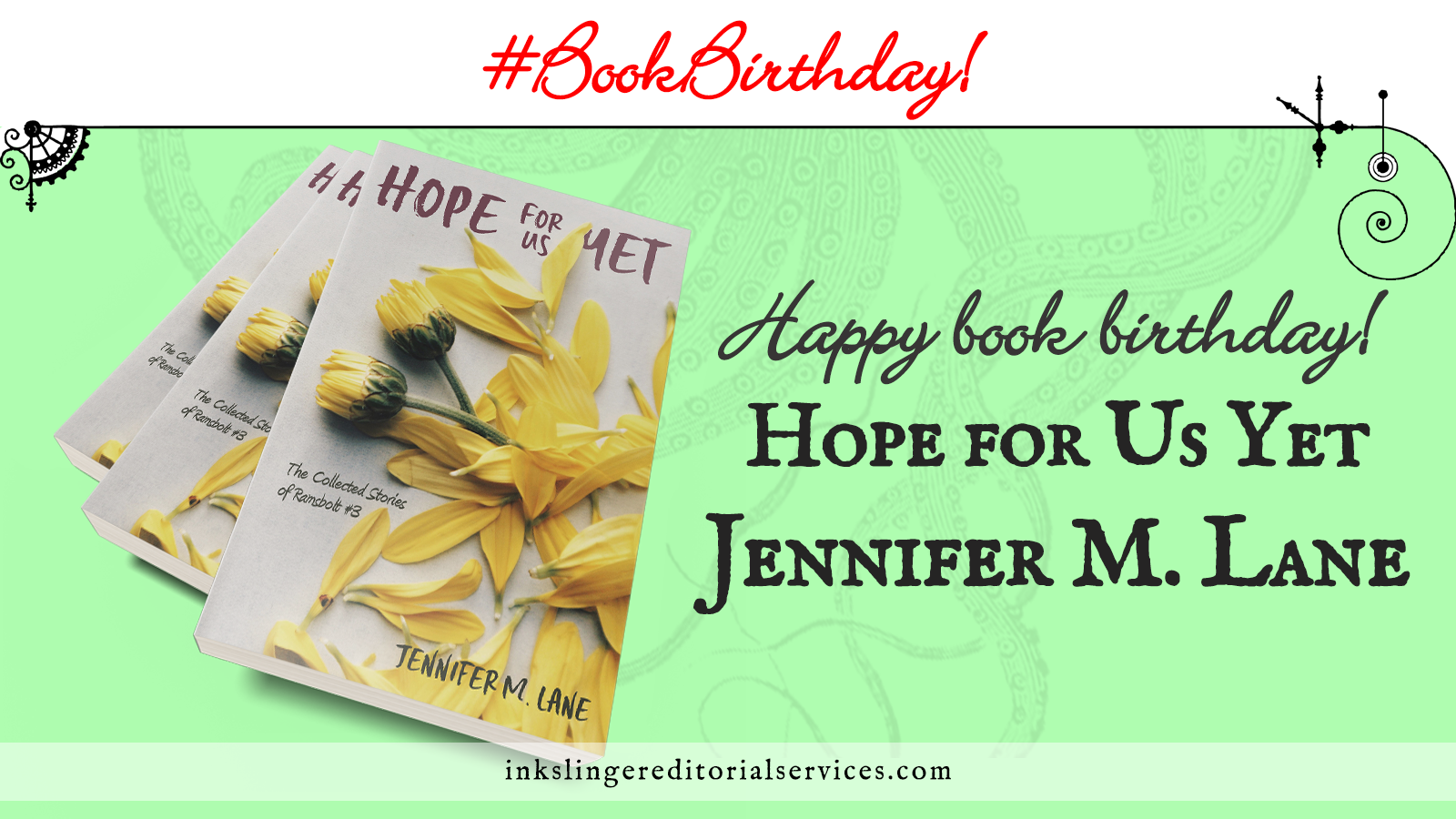 #BookBirthday A 3-book stack of Hope for US Yet over a mint green field. Happy book birthday! Hope for us Yet by Jennifer M. Lane.