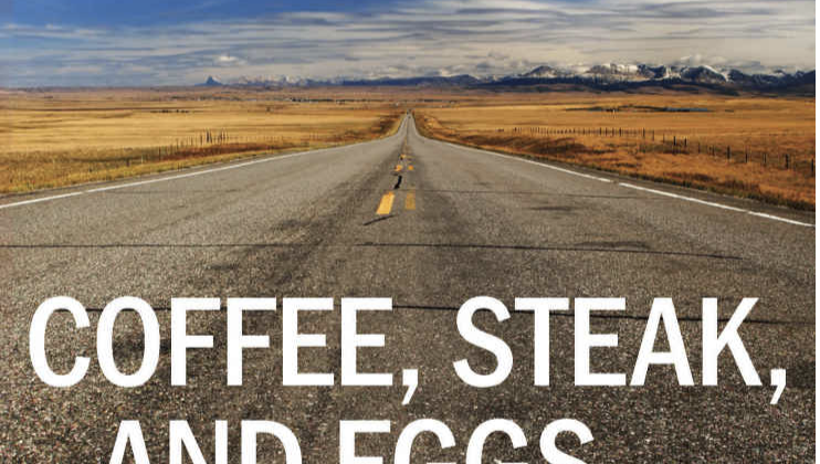 Coffee, Steak, and Eggs by Eric J. Smith cover. A cracked two-lane road and horizon.