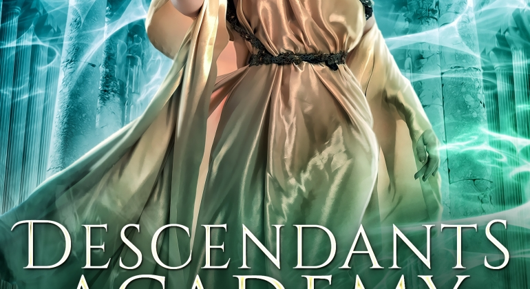 Descendants Academy by Belle Malory Book 1 A young teen with flowing blond hair and a wreath crown stands in front of an ancient Greek building. She is dressed in a golden toga and is reaching out to the viewer. She is surrounded by a blue-green energy flowing through the air.