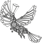 steampunk bird with spread wings and a top hat