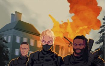 Curve of the Dragon, Episode 1: Chasing Shadows An illustration of two men and a woman in tactical gear running toward the viewer away from a burning building.