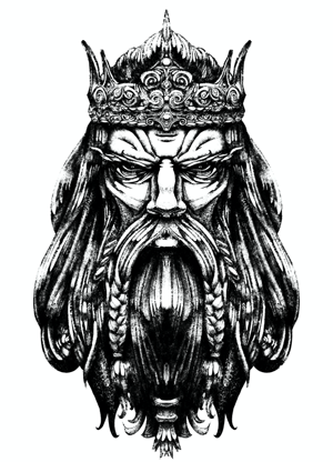 Black-and-white illustration of a weathered bearded king with long hair and a crown