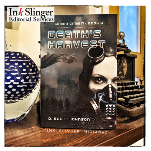 Ink Slinger logo in the upper left corner with the book Death's Harvest by Scott Johnson standing in front of an antique typewriter with a blue and white glass vase on the opposite side.
